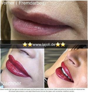 Lippen Permanent Make Up Bilder - LAJOLI Elite Studio Hamburg Frau Leja - Lippen aufspritzen